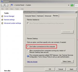 Remote Desktop Connections Disabled